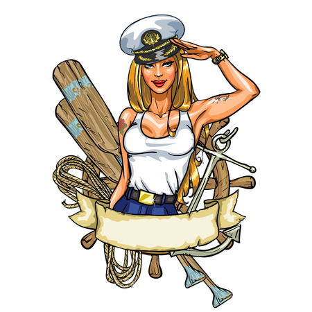 pin up vintage: Etichetta Pin Up ragazza del marinaio isolato su bianco