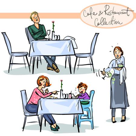 pareja comiendo: Conjunto de escenas dibujadas a mano aislados en blanco.