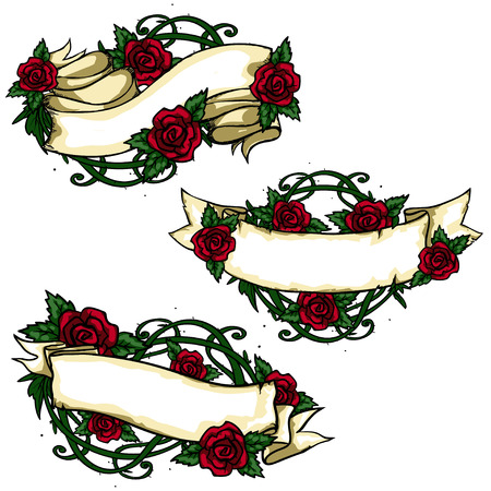 Ribbon banners with roses isolated on white