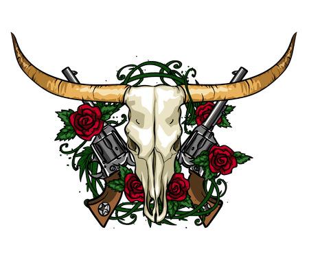 Skull and Roses hand drawn label design. Illustration