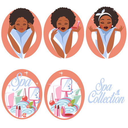 before: Set of Spa Icons, Woman before and after spa procedures. Illustration