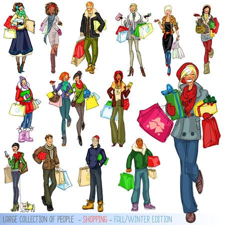 siluetas de mujeres: Gran conjunto de personas con bolsas de la compra, Otoño - Invierno edición. Vectores