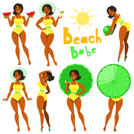 size: Beach Babe - collection of young girls in swimwear.