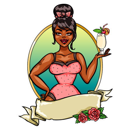 pin up girl:  Pin Up Girl with cocktail, label with space for text. Illustration