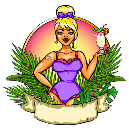 cheer up: Pin Up Girl with cocktail, label with space for text.