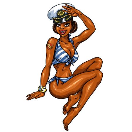 black girl: Pin Up Girl im Bikini und Kapit�n Hut isoliert auf wei�