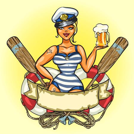 marinero: Etiqueta con Pin encima de la muchacha del marinero y el dise�o de la cinta