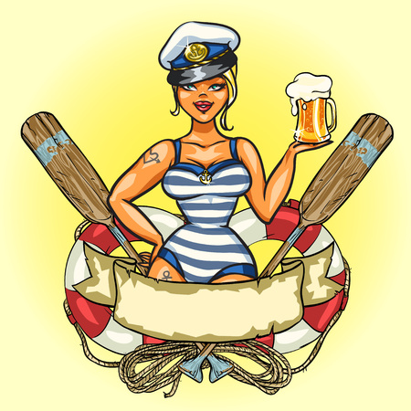 captain ship: Label with Pin Up Sailor Girl and ribbon design Illustration