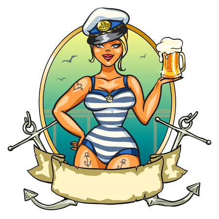 barco caricatura: Etiqueta con Pin encima de la muchacha del marinero y el dise�o de la cinta