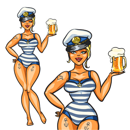 bikini model: Pin Up Sailor Girl with cold beer, isolated on white