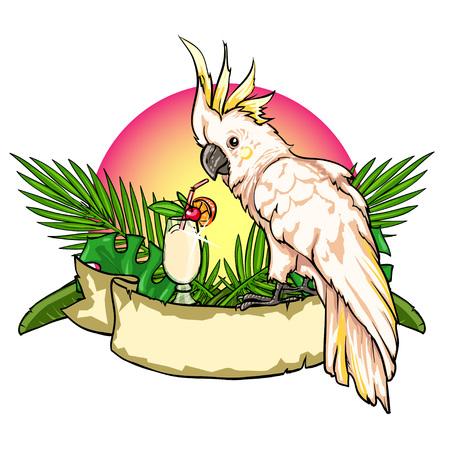 Exotische label met cocktail, papegaai en lint banner