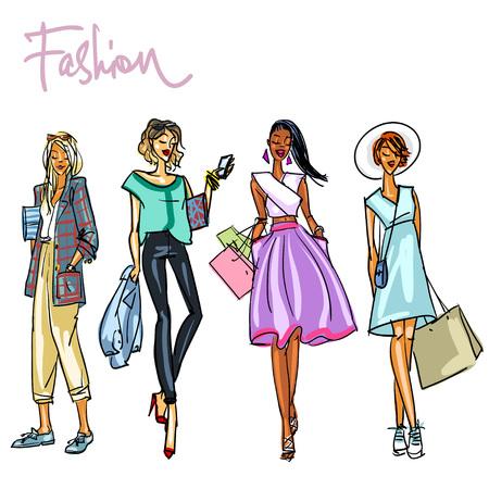 stylish woman: Set of stylish women with shopping bags