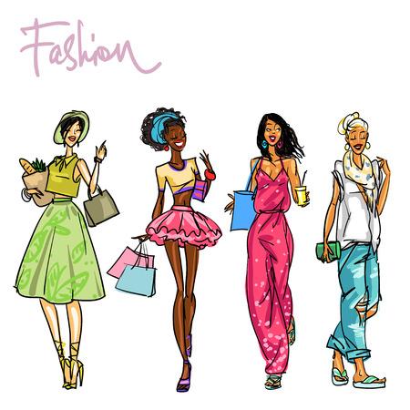 쇼핑 가방과 함께 세련된 여성의 집합