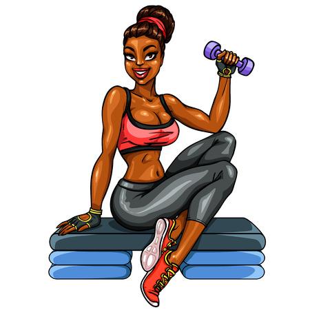 ejercicio aer�bico: Mujer hermosa del ajuste que se resuelve con pesa.