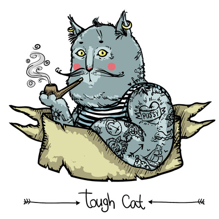 Vector background with hand drawn tough cat covered in tattoes