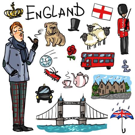 bandera inglesa: Conjunto de la mano de dibujos animados dibujados atracciones de viaje - Inglaterra Vectores