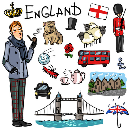 cartoon umbrella: Set of cartoon hand drawn travelling attractions - England