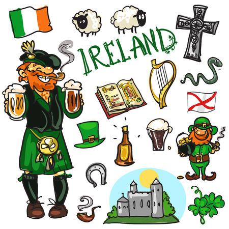 Set cartoon hand getekende reizen attracties - Ierland Stock Illustratie