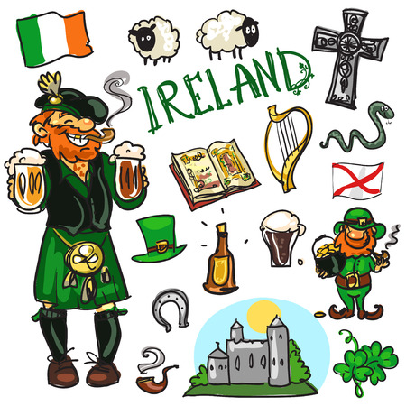Set of cartoon hand drawn travelling attractions - Ireland Иллюстрация