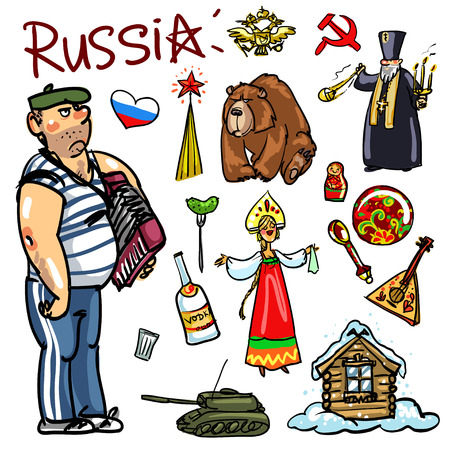 balalaika: Set of cartoon hand drawn travelling attractions - Russia