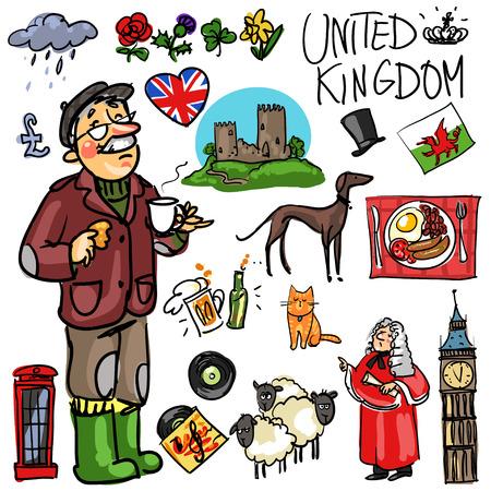 english culture: Set of cartoon hand drawn travelling attractions - United Kingdom Illustration
