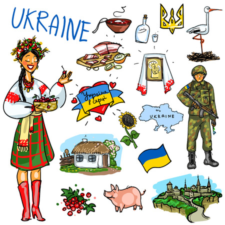 army girl: Set of cartoon hand drawn travelling attractions - Ukraine Illustration