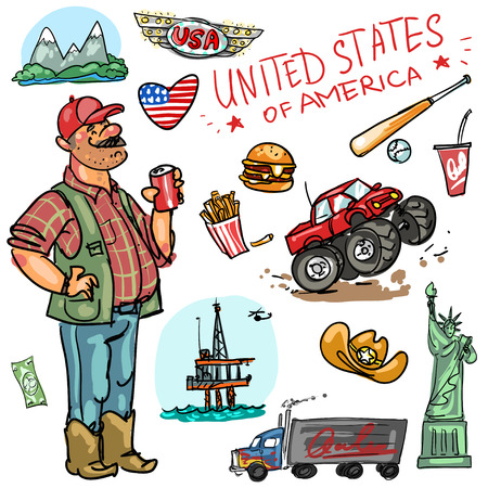 crazy hair: Set of cartoon hand drawn travelling attractions - United States Illustration