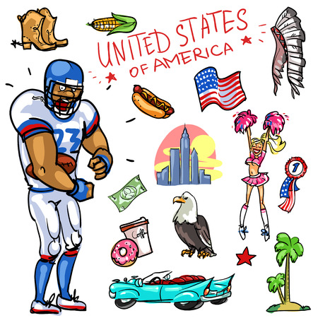 Set of cartoon hand drawn travelling attractions - United States Illustration