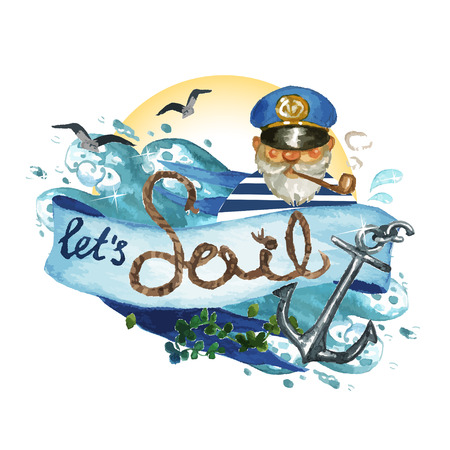 Lets sail - Vectorized watercolor painting isolated on white Vectores