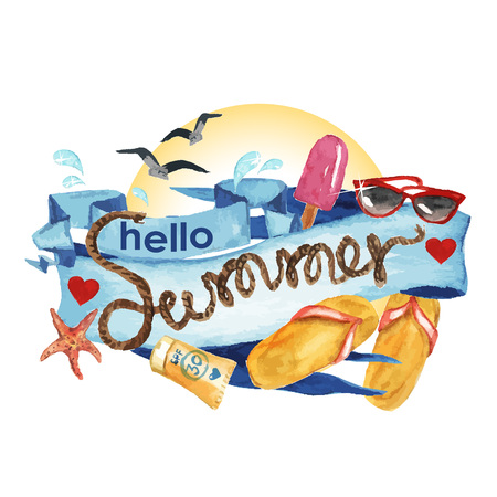 Hello Summer - Vectorized watercolor painting isolated on white