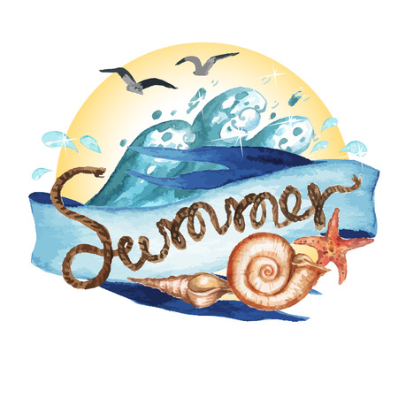 vectorized: Summer - Vectorized watercolor painting isolated on white Illustration