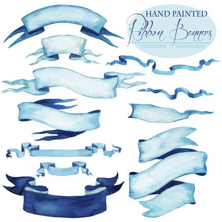 fondos azules: Conjunto de la mano pintado banderas de la cinta - acuarelas vectorizadas.
