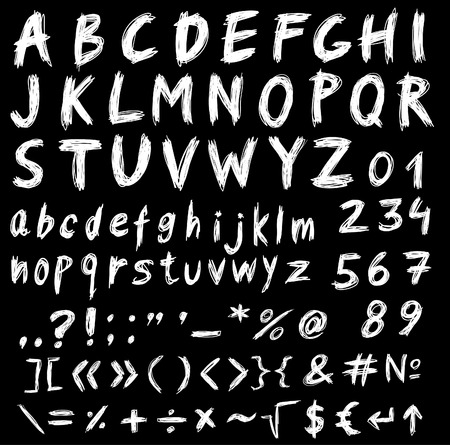 chalk drawing: Alphabet, set of font letters and symbols
