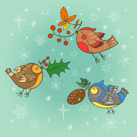 pinecone: Hand drawn Christmas card with cute birds