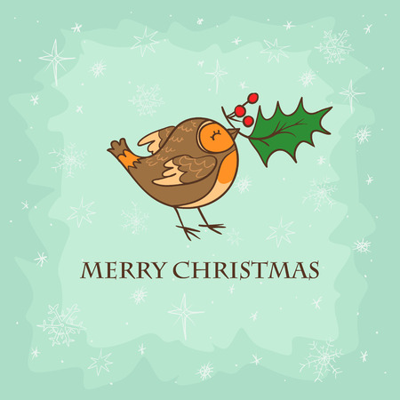 robin bird: Hand drawn Christmas card with cute bird