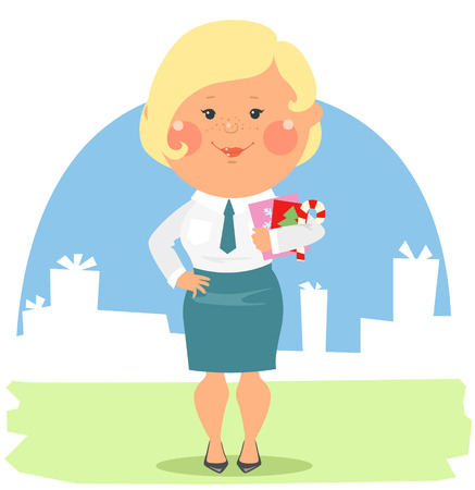 purchasing manager: Cartoon office people clip art - woman holding Christmas cards