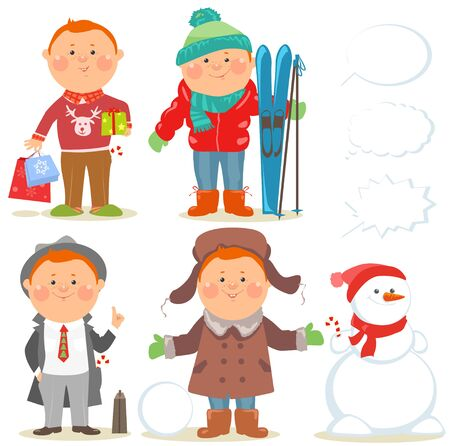 family shopping: Cartoon people, Winter holidays set of men in defferent situations