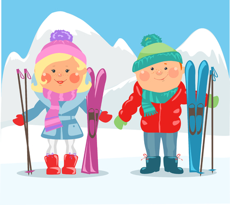 happy couple: Cartoon people - Happy couple with skis on winter holidays