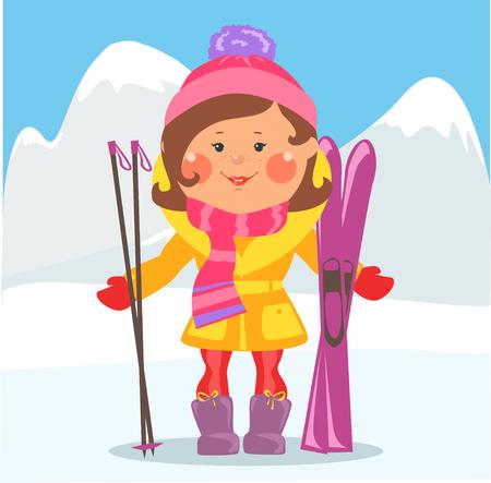ski: Cartoon people - Woman with skis on winter holidays Illustration