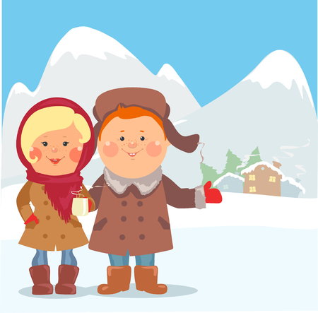 alps: Cartoon people - Happy couple inviting guests to hotel Illustration