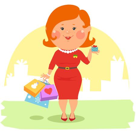 mujer en el supermercado: Gente de la historieta - ouple feliz celebración de bolsas y cajas Vectores