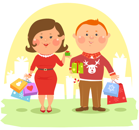 woman in love: Cartoon people - Happy ouple holding shopping bags and boxes