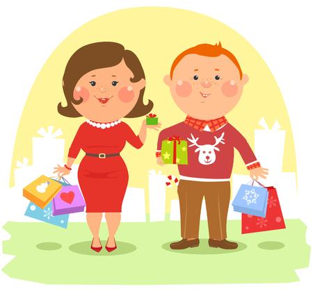 mujer enamorada: Gente de la historieta - ouple feliz celebraci�n de bolsas y cajas Vectores
