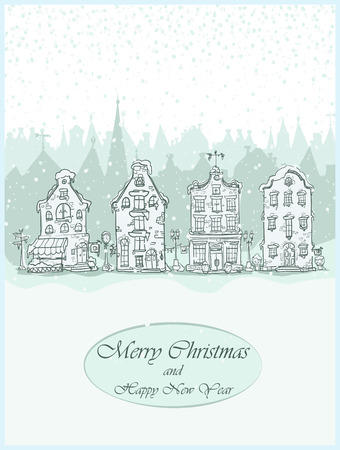 old town: Christmas card design with hand drawn old town Illustration
