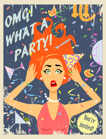 red hair: Party invitation design with crazy red hair girl