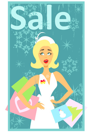 glamor: Christmas shopping design with happy excited woman holding shopping bags, 50s, 60s style