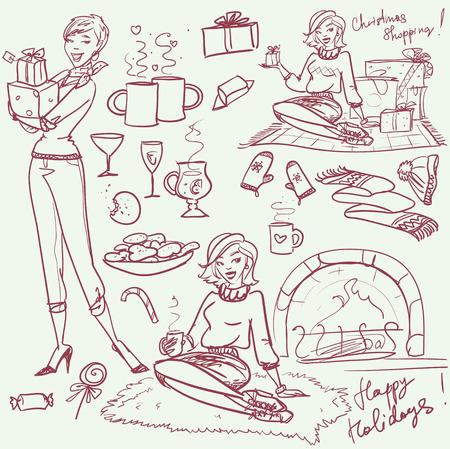 tomando vino: Dibujado a mano la colección X-mas de los elementos y las personas