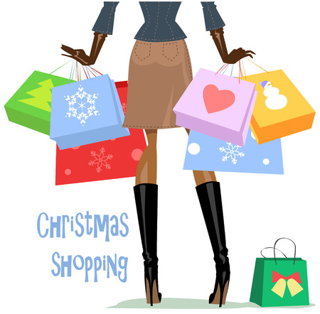 christmas shopping: Woman carrying shopping bags, Christmas shopping card design.