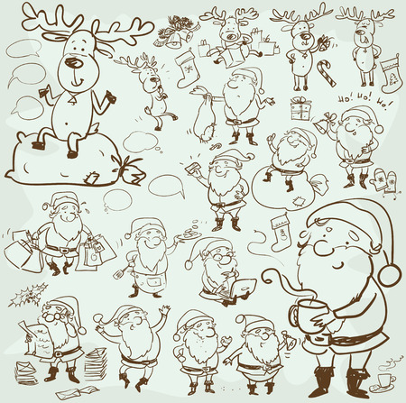 santa claus hats: Hand drawn Christmas characters and elements, cartoon Santa and his reindeer