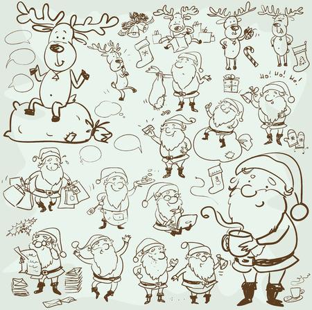 papa noel: Mano dibujado personajes y elementos de la Navidad, dibujo animado de Santa y sus renos
